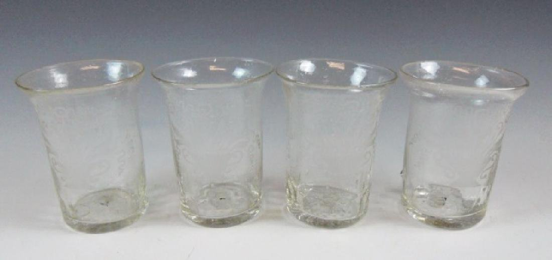18th C. Flip Glasses, Stiegl Style Etching, (4pc)
