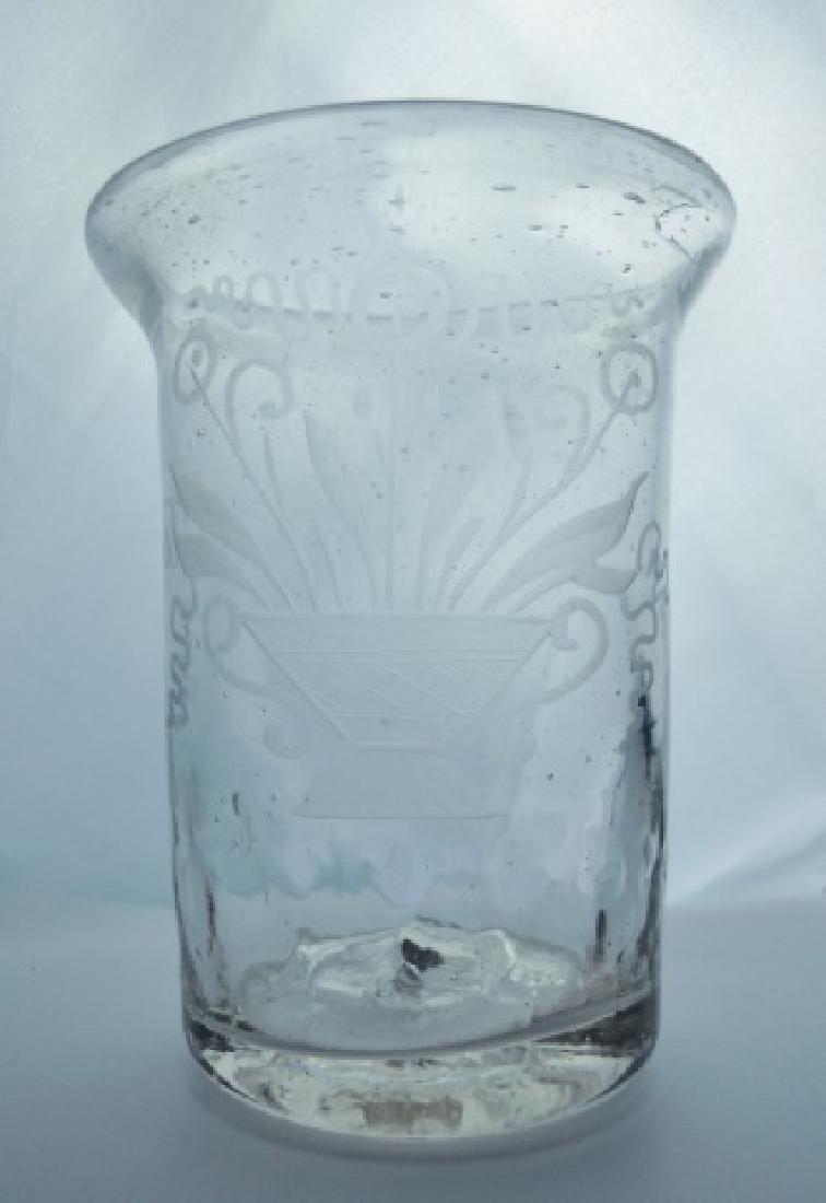18th C. Flip Glasses, Stiegl Style Etching, (4pc) - 2