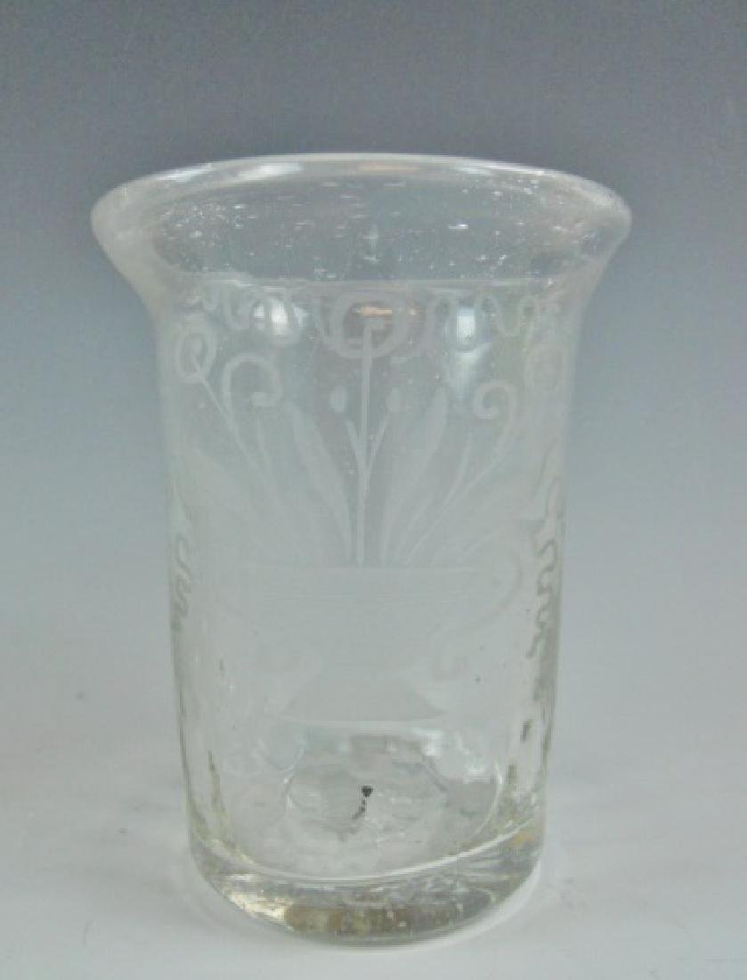 18th C. Flip Glasses, Stiegl Style Etching, (4pc) - 5