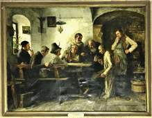 Painting O/C Tavern Scene, Hans Pock, Dated 1883