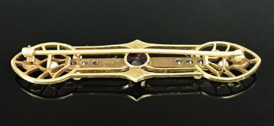 Antique 14K Gold Pearl , Amethyst Pin - 4