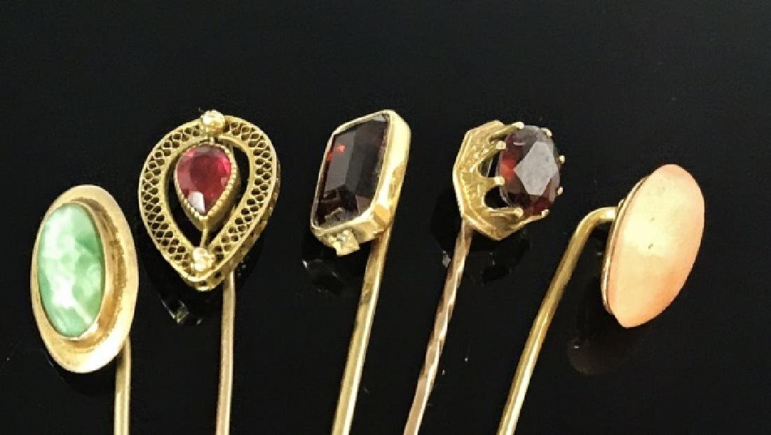 Antique 10K and 14K Gold Stick Pins, (5pc) - 3