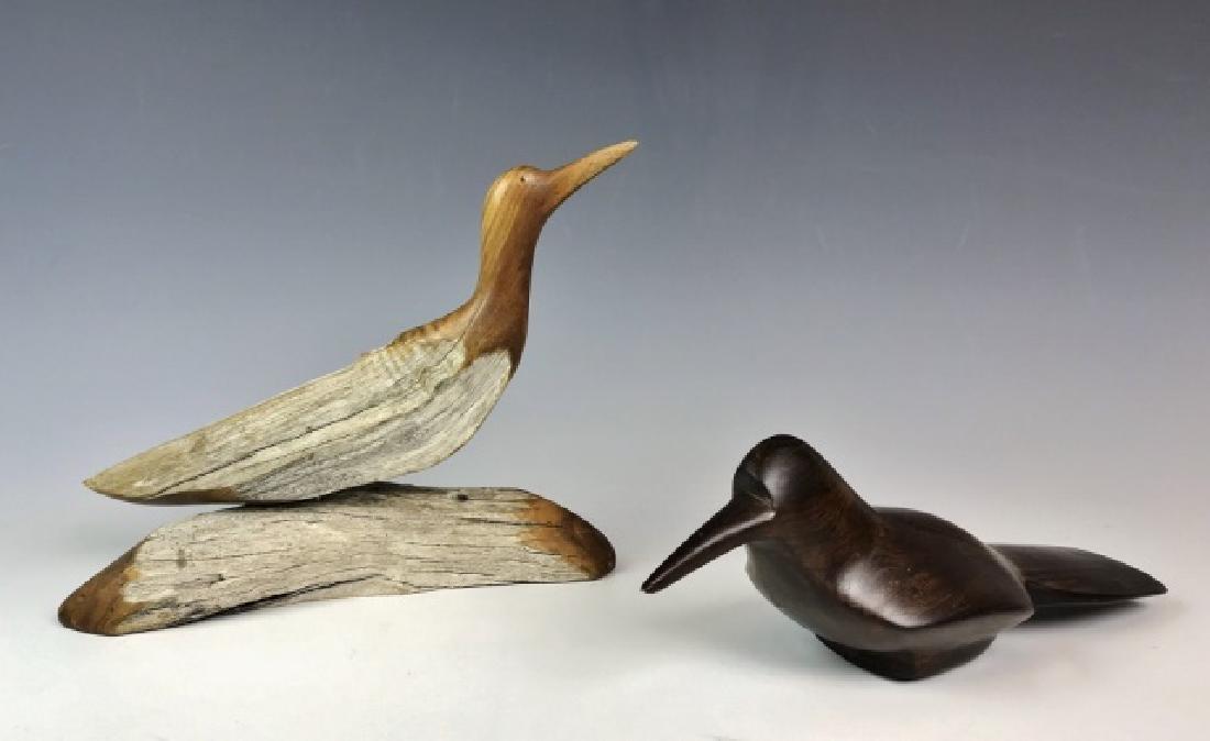 Two Carved Wood Folk Art Bird Figures, (2pc)