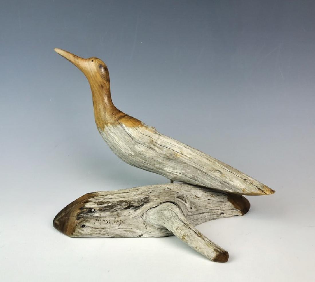 Two Carved Wood Folk Art Bird Figures, (2pc) - 2