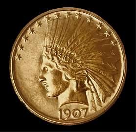 1907 US $10 Indian Gold Coin, BU