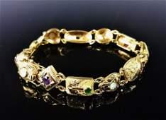 Ladies 18K Gold Gemstone Bracelet