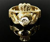 Mens 14K Gold Diamond Claddagh Ring