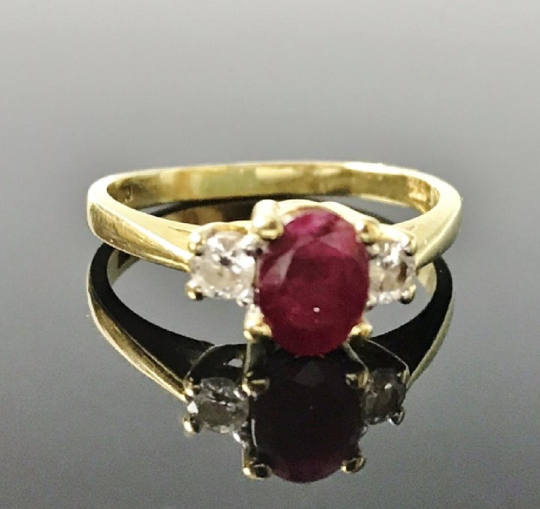 Ladies 14K Gold Ruby and Diamond Ring