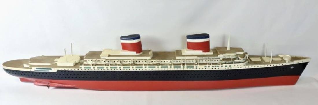 Large Hand Crafted Ship Model, S.S. United States