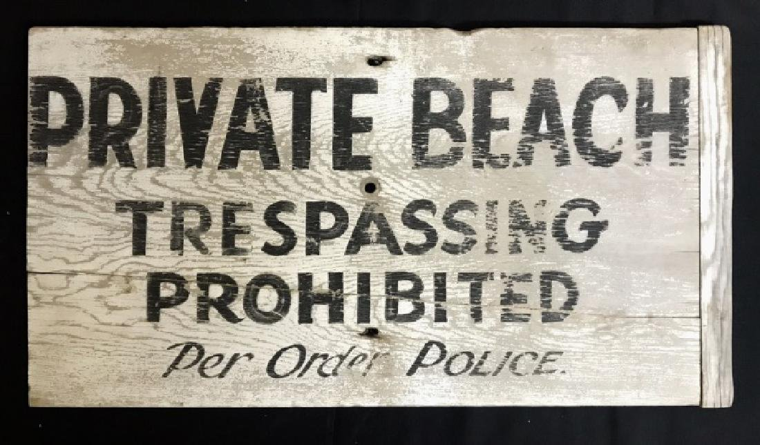 Vintage Hand Painted Sign, PRIVATE BEACH
