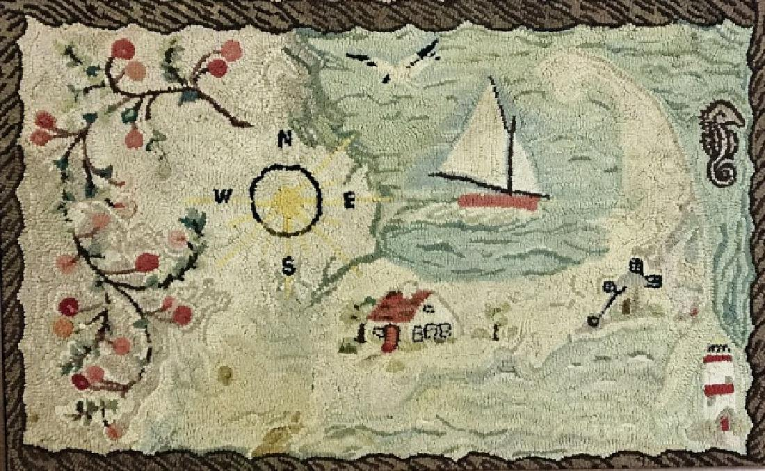 Antique Framed Cape Cod Hooked Rug