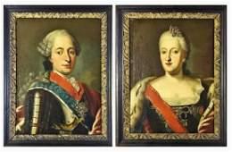 18th C. Portraits, Czar Peter III, Catherine I