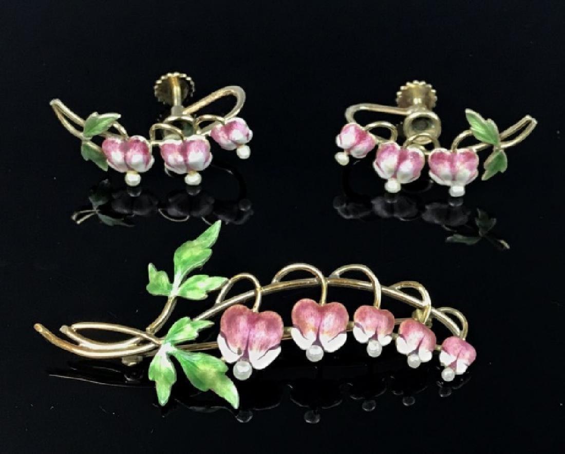 14K Gold, Pearl, Enamel Ladies Pin, Earrings (3pc)
