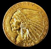 1914 $2.50 Indian Gold Coin, AU Condition