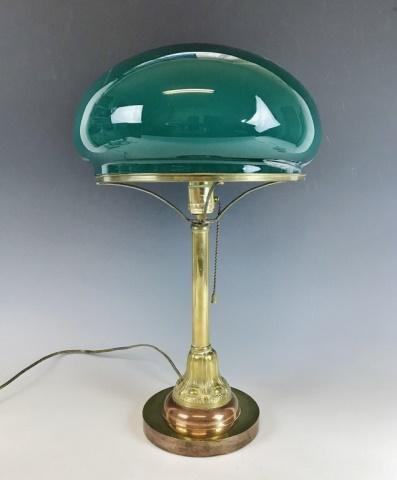 Vintage Brass Banker's Lamp, Glass Shade