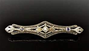 Antique 14K Gold Diamond Sapphire Bar Pin