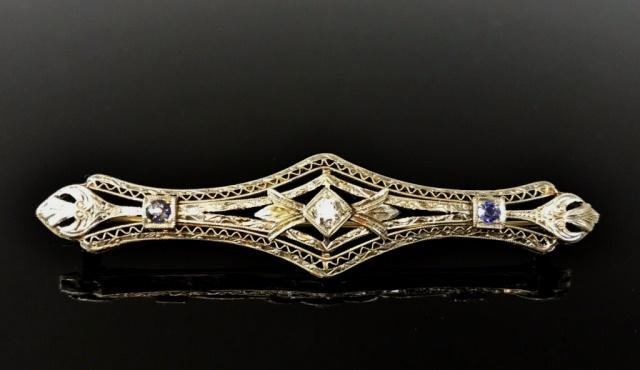 Antique 14K Gold Diamond, Sapphire Bar Pin