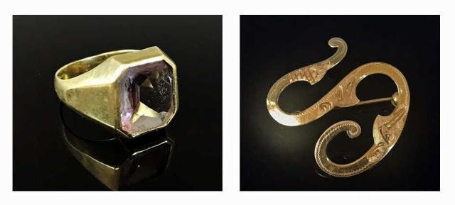 14K Gold, Amethyst Ring and Pin, (2pc)