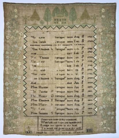 1820 Dated New England Sampler, Sprague Family