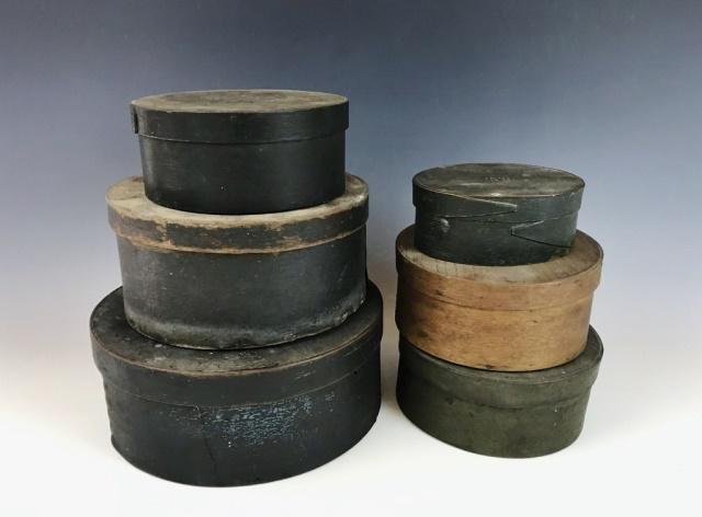 19th C. Painted Wooden Pantry Boxes, (6pc)