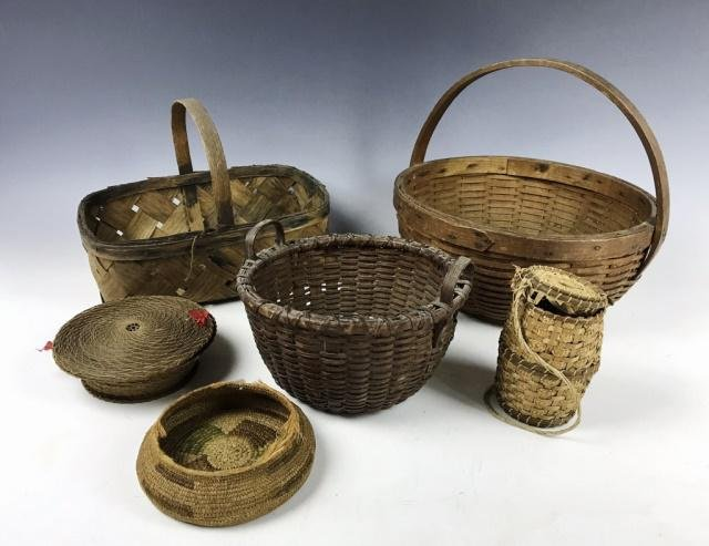 Collection of 19th C. Baskets, (6pc)