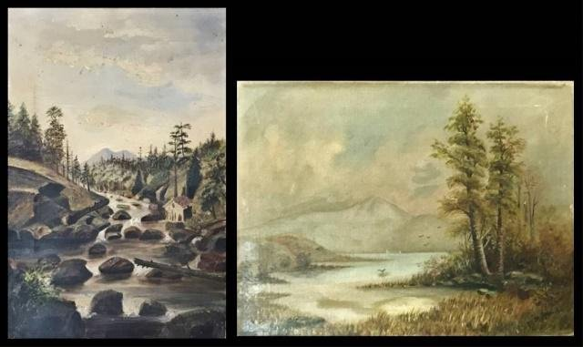 19th C. Hudson Valley School Paintings, (2pc)