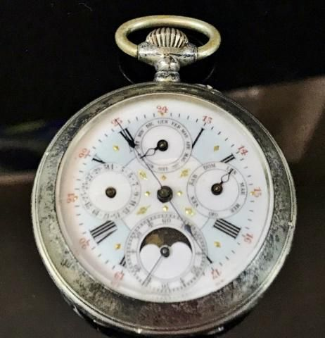 French Moon Phase, Calendar Pocket Watch