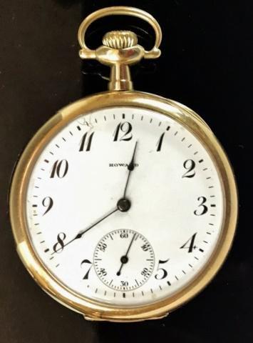 14K Gold Case Pocket Watch, Howard & Co