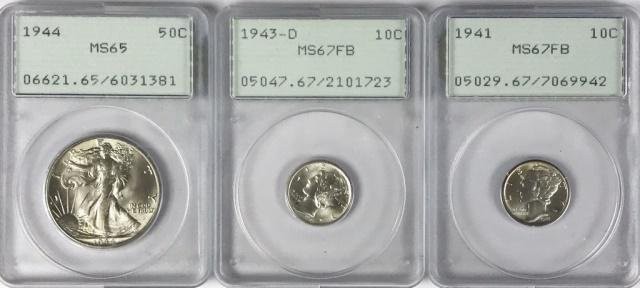 Collection, US Type Coins, Graded by PCGS, (3pc)