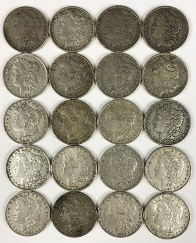 Roll, Pre-1921 Morgan Silver Dollars, (20pc)