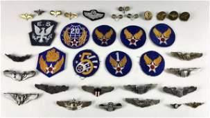WW2 - Post War USAAF Pins, Insignia, (33pc)