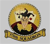 Large WW2 USAAF 8th Air Force 570th Squadron Sign