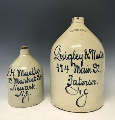 Two Antique Stoneware Advertising Jugs, (2pc)