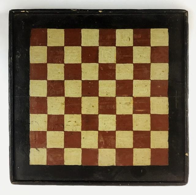 Antique Primitive Hand Painted Game Board
