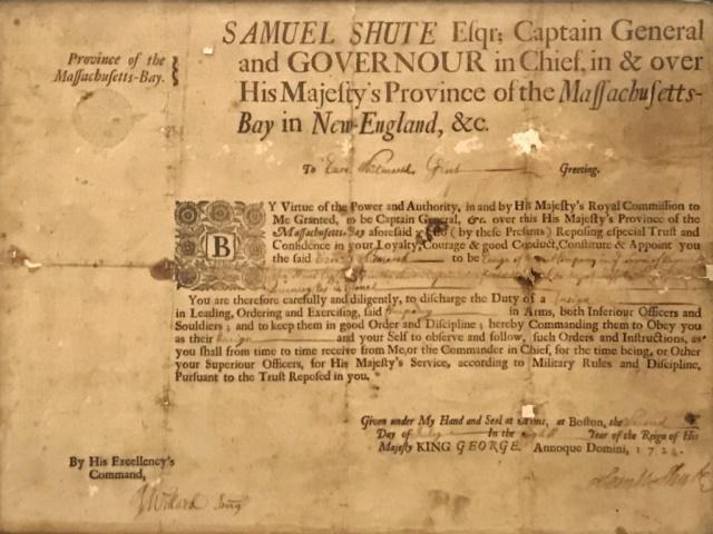 1722 Massachusetts Military Commission, Shute