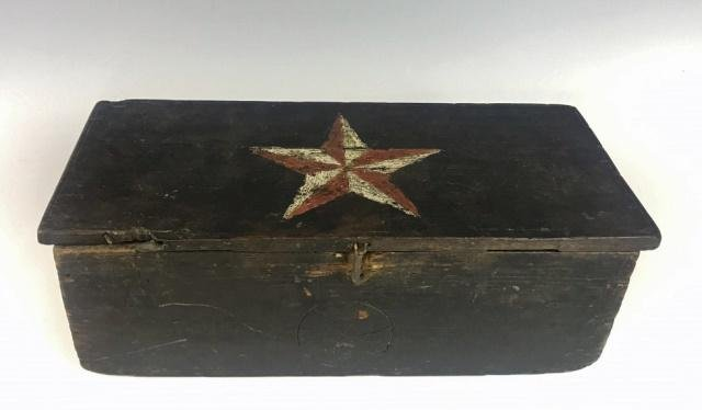 19th C. Wooden Document Box with Star Decoration