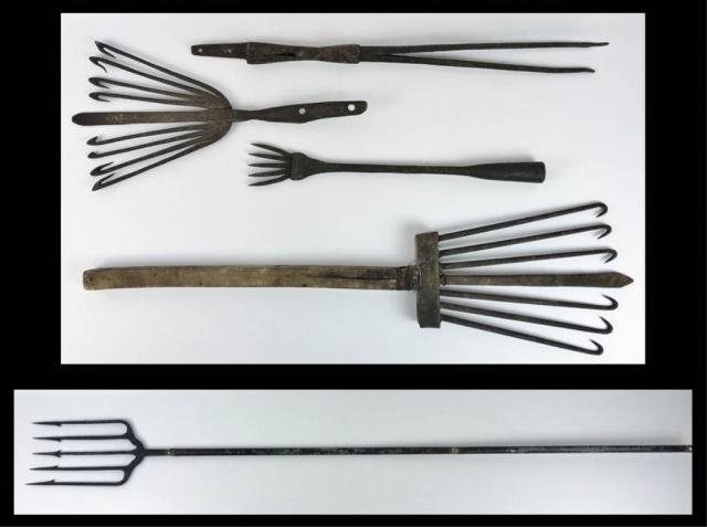 Antique Wrought Iron Fish and Eel Spears, (5pc)