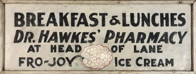 York Beach, ME Dr Hawkes Pharmacy Sign ca. 1940