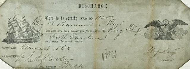1863 Civil War Naval Discharge, Nantucket, MA