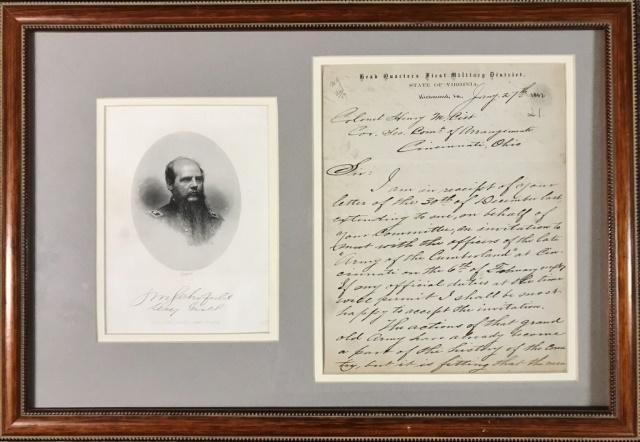Civil War Union General John Schofield Letter