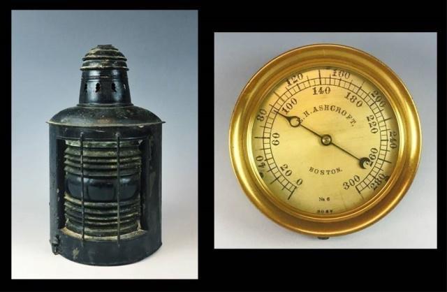 Antique Ship's Lantern and Gauge, (2pc)