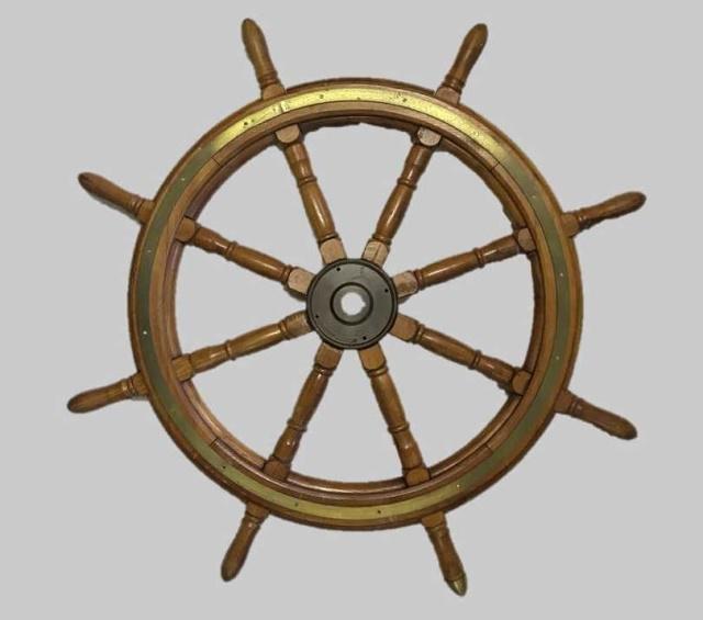 20th C. Brass Bound Wooden Ship's Wheel