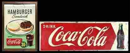 Vintage Coca Cola Advertising Tin Sign, Bag (2pc)