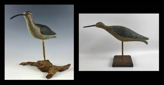 Hand Carved, Painted Shore Bird Decoys, (2pc)