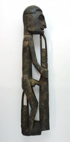 New Guinea Native Asmat Figure Carving with Canoe