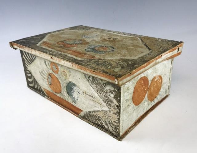 19th C. Folk Painted Document Box