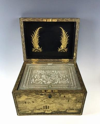 19th C. Lacquered Chinoiserie Decorated Tea Caddy