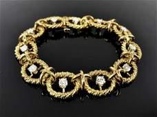 18K Yellow Gold, Diamond Link Bracelet