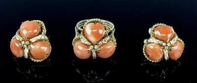 14K Gold, Diamond, Coral Ring, Earrings, (3pc)