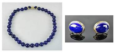 18K Gold Lapis Lazuli Necklace Earrings 3pc